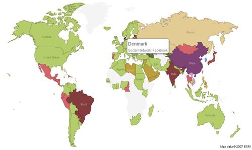 maps of the world countries. World Map of Social Networks